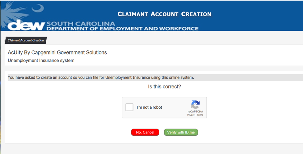 South Carolina Department of Employment and Workforce identity verification